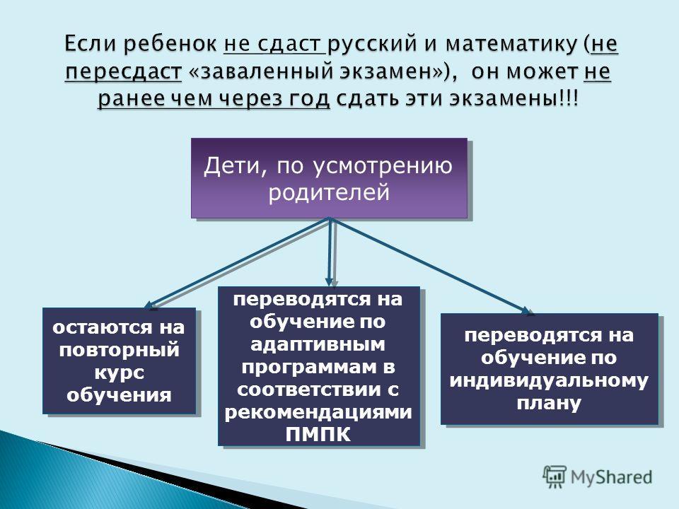 Дети, по усмотрению родителей остаются на повторный курс обучения переводятся на обучение по адаптивным программам в соответствии с рекомендациями ПМПК переводятся на обучение по индивидуальному плану