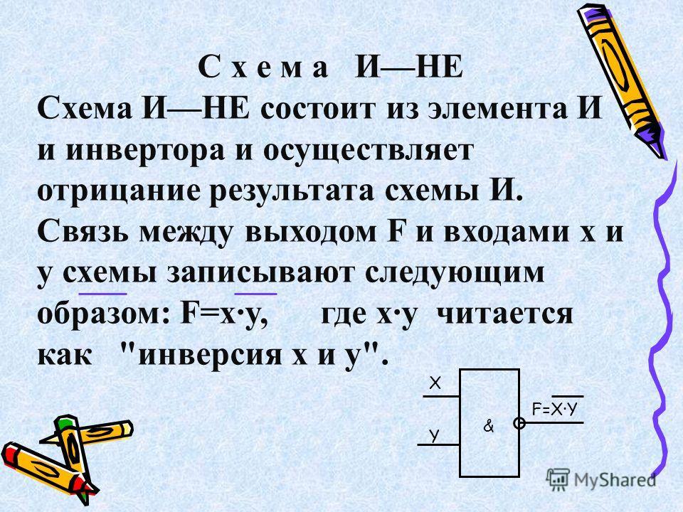 С х е м а ИНЕ Схема ИНЕ состоит из элемента И и инвертора и осуществляет отрицание результата схемы И. Связь между выходом F и входами x и y схемы записывают следующим образом: F=x·y, где x·y читается как инверсия x и y. X F=X·Y & Y