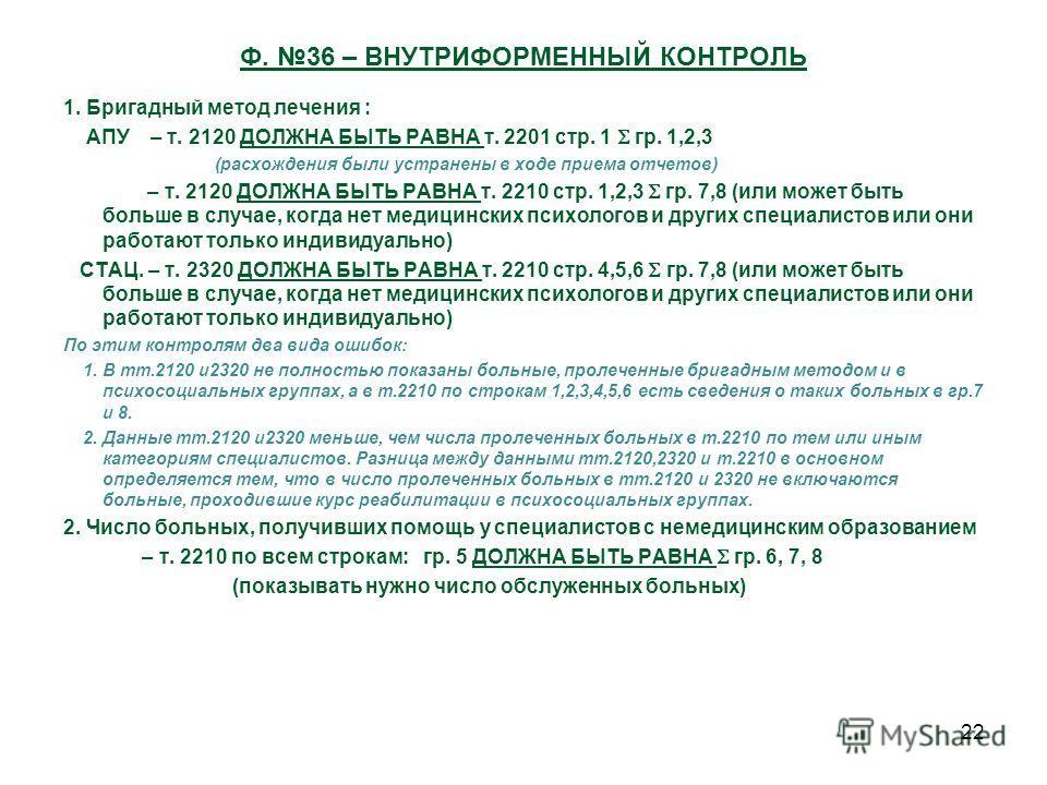 22 Ф. 36 – ВНУТРИФОРМЕННЫЙ КОНТРОЛЬ 1. Бригадный метод лечения : АПУ – т. 2120 ДОЛЖНА БЫТЬ РАВНА т. 2201 стр. 1 гр. 1,2,3 (расхождения были устранены в ходе приема отчетов) – т. 2120 ДОЛЖНА БЫТЬ РАВНА т. 2210 стр. 1,2,3 гр. 7,8 (или может быть больше