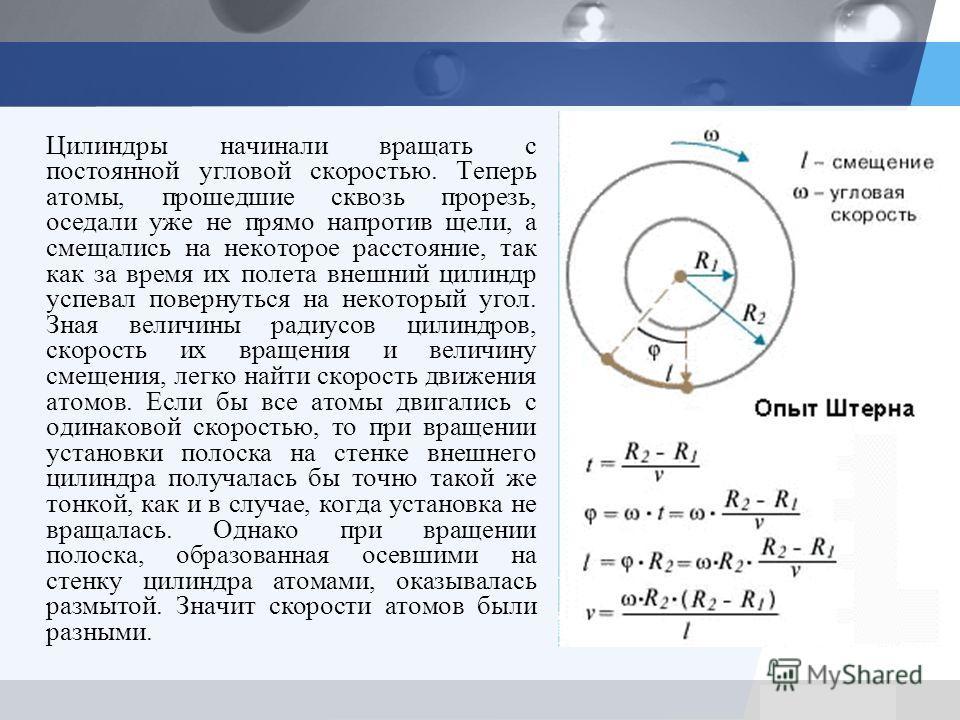 LOGO Цилиндры начинали вращать с постоянной угловой скоростью. Теперь атомы, прошедшие сквозь прорезь, оседали уже не прямо напротив щели, а смещались на некоторое расстояние, так как за время их полета внешний цилиндр успевал повернуться на некоторы