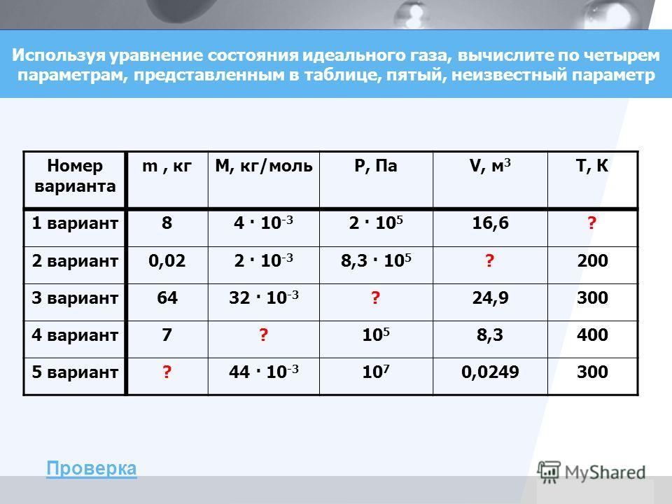 LOGO Используя уравнение состояния идеального газа, вычислите по четырем параметрам, представленным в таблице, пятый, неизвестный параметр Номер варианта m, кгМ, кг/мольP, ПаV, м 3 Т, К 1 вариант84 · 10 -3 2 · 10 5 16,6? 2 вариант0,022 · 10 -3 8,3 ·