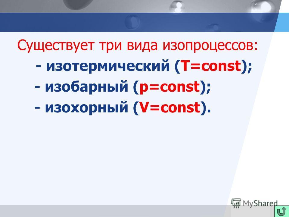 LOGO Существует три вида изопроцессов: - изотермический (T=const); - изобарный (p=const); - изохорный (V=const).