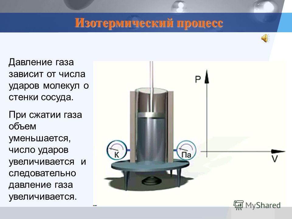 LOGO Давление газа зависит от числа ударов молекул о стенки сосуда. При сжатии газа объем уменьшается, число ударов увеличивается и следовательно давление газа увеличивается. Изотермический процесс