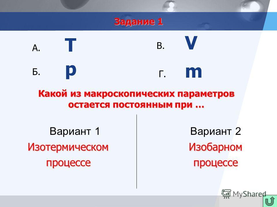 LOGO Задание 1 Вариант 1Изотермическомпроцессе Вариант 2 Изобарном процессе процессе А. Б. В. Г. Т V p m Какой из макроскопических параметров остается постоянным при …