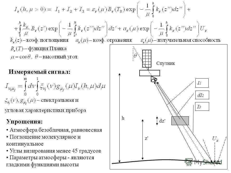 dz h z I1I1 dI2dI2 I3I3 Спутник Измеряемый сигнал: Атмосфера безоблачная, равновесная Поглощение молекулярное и континуальное Углы визирования менее 45 градусов Параметры атмосферы - являются гладкими функциями высоты Упрощения: