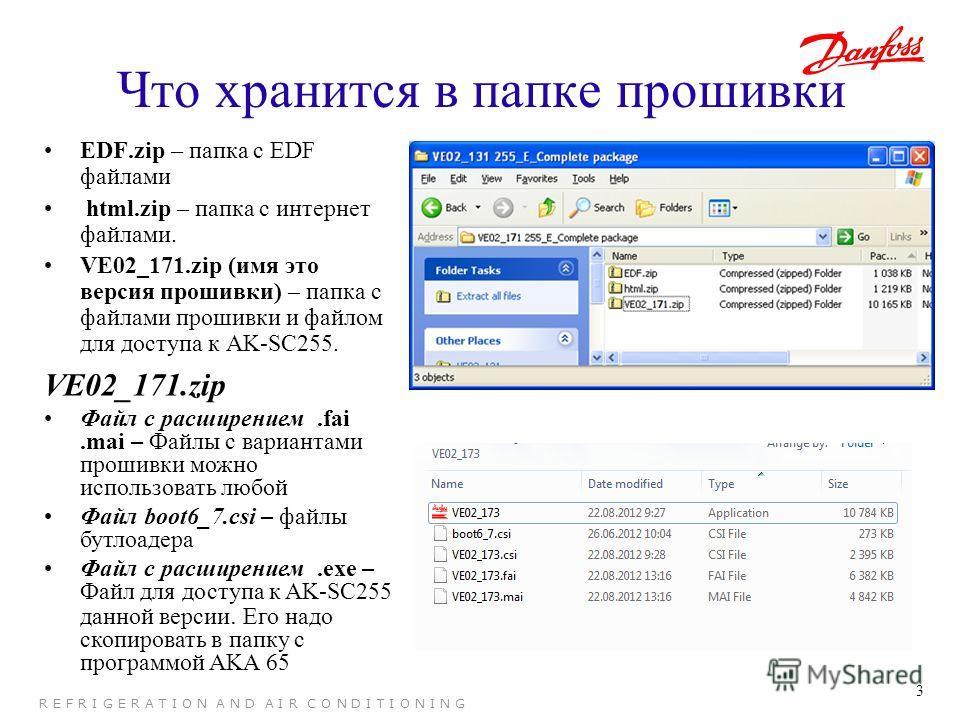 3 R E F R I G E R A T I O N A N D A I R C O N D I T I O N I N G Что хранится в папке прошивки EDF.zip – папка с EDF файлами html.zip – папка с интернет файлами. VE02_171.zip (имя это версия прошивки) – папка с файлами прошивки и файлом для доступа к