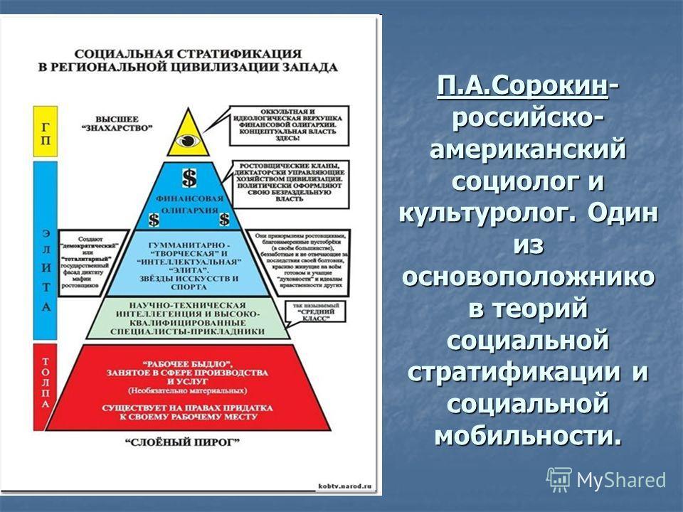 П.А.Сорокин- российско- американский социолог и культуролог. Один из основоположнико в теорий социальной стратификации и социальной мобильности.
