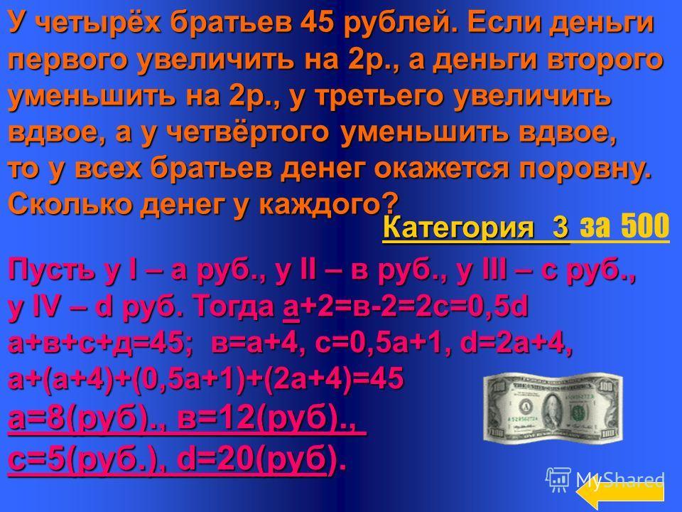 16 1) дивиденд 2) маркетинг Категория 3 Категория 3 за 400