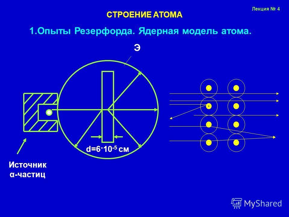 Лекция 4 СТРОЕНИЕ АТОМА 1.Опыты Резерфорда. Ядерная модель атома. Источник α-частиц d=6·10 -5 см Э
