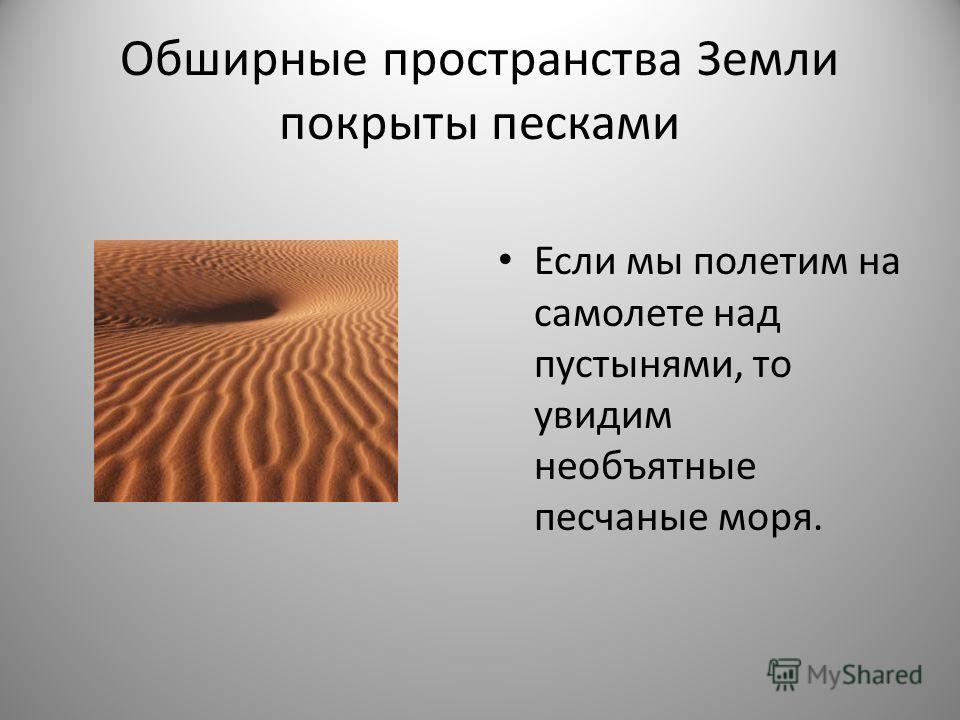 Обширные пространства Земли покрыты песками Если мы полетим на самолете над пустынями, то увидим необъятные песчаные моря.