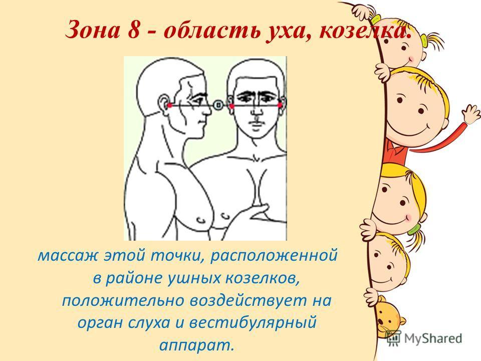 Зона 8 - область уха, козелка. массаж этой точки, расположенной в районе ушных козелков, положительно воздействует на орган слуха и вестибулярный аппарат.