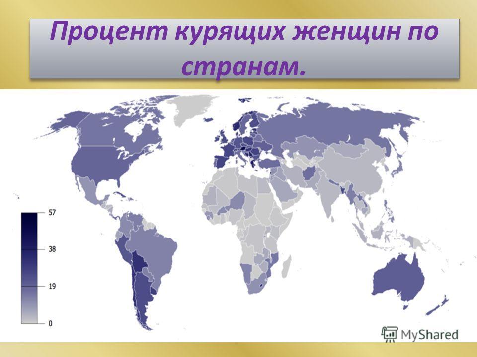 Процент курящих женщин по странам.