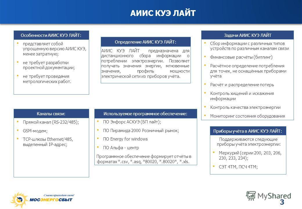 3 Особенности АИИС КУЭ ЛАЙТ: представляет собой упрощенную версию АИИС КУЭ, менее затратную; не требует разработки проектной документации; не требует проведения метрологических работ. Каналы связи: Прямой канал (RS-232/485); GSM-модем; TCP-шлюзы Ethe
