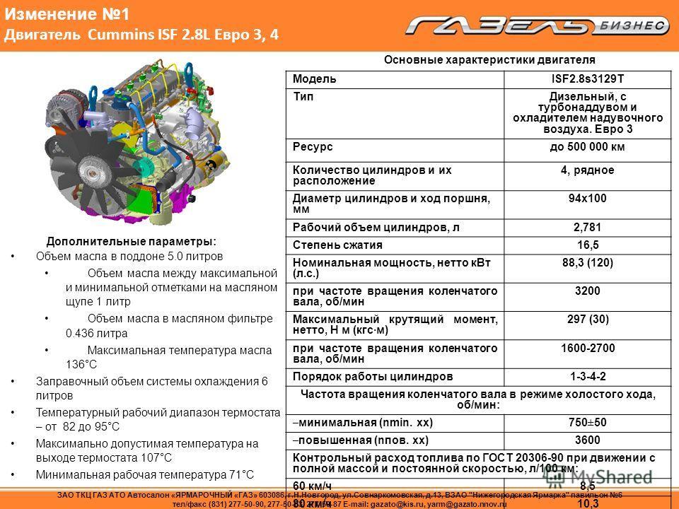 Изменение 1 Двигатель Сummins ISF 2.8L Евро 3, 4 Модель ISF2.8s3129T ТипДизельный, с турбонаддувом и охладителем надувочного воздуха. Евро 3 Ресурсдо 500 000 км Количество цилиндров и их расположение 4, рядное Диаметр цилиндров и ход поршня, мм 94х10