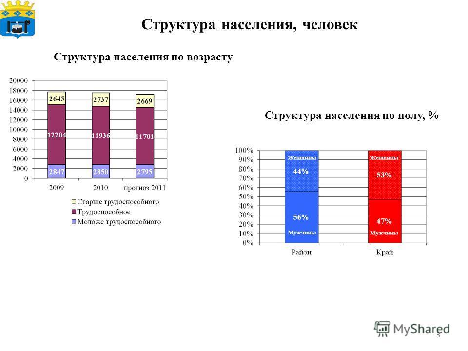 33 Структура населения, человек Структура населения по полу, % Структура населения по возрасту