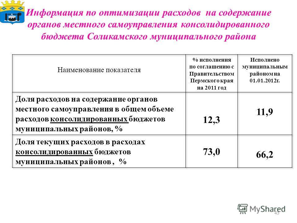 Информация по оптимизации расходов на содержание органов местного самоуправления консолидированного бюджета Соликамского муниципального района 43