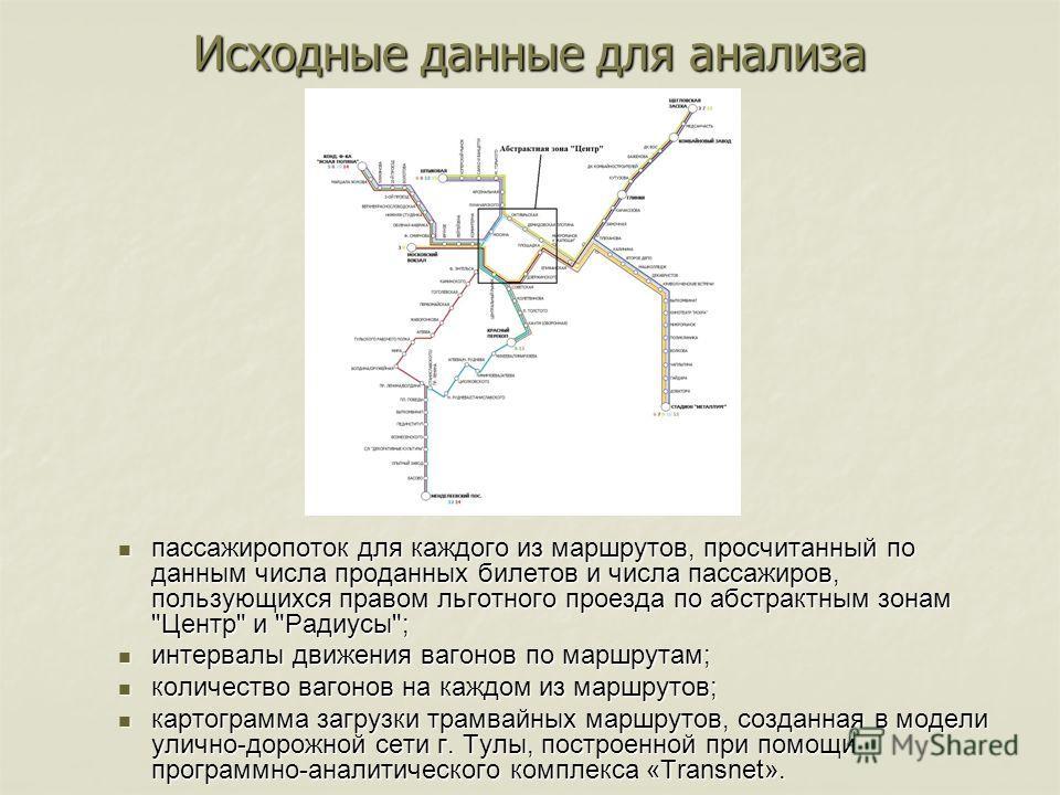 пассажиропоток для каждого из маршрутов, просчитанный по данным числа проданных билетов и числа пассажиров, пользующихся правом льготного проезда по абстрактным зонам