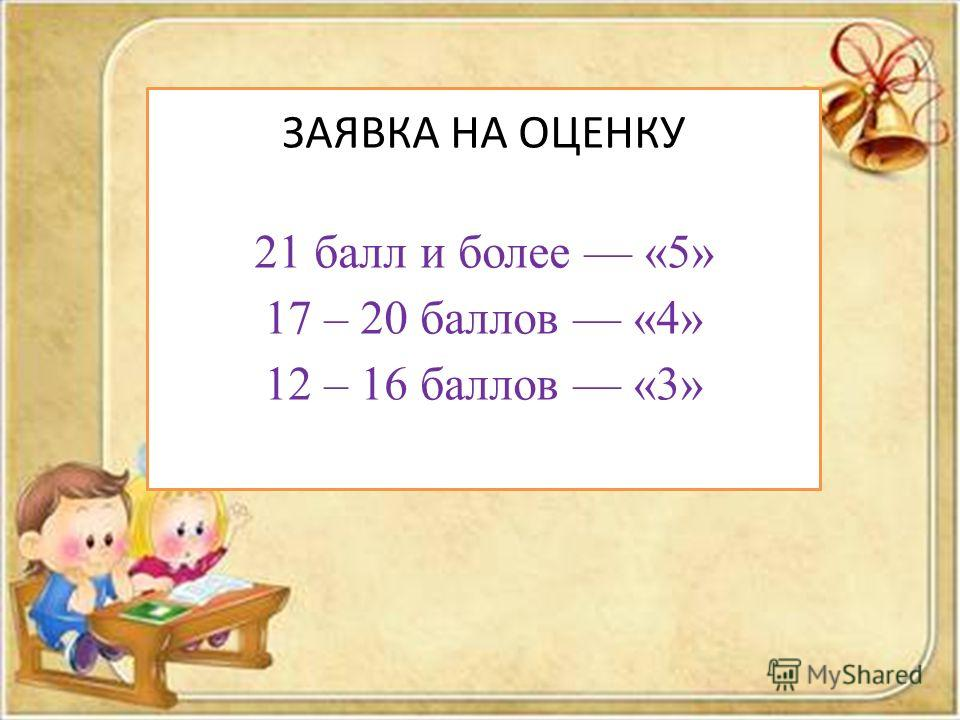ЗАЯВКА НА ОЦЕНКУ 21 балл и более «5» 17 – 20 баллов «4» 12 – 16 баллов «3»