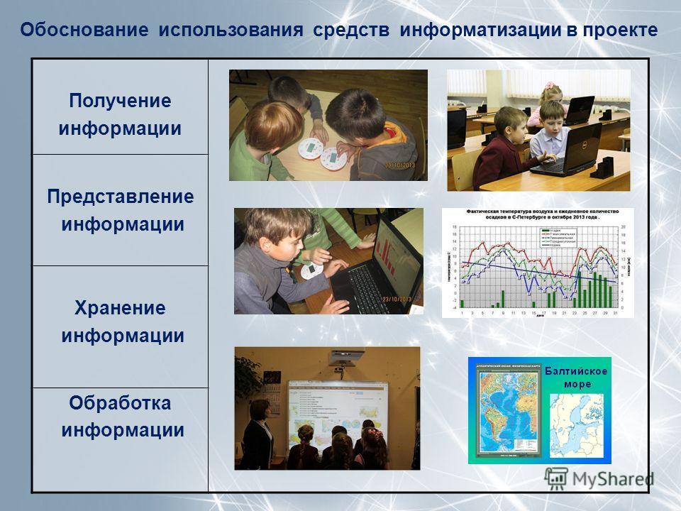 Обоснование использования средств информатизации в проекте Получение информации Представление информации Хранение информации Обработка информации