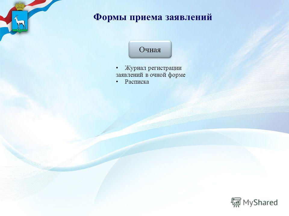 Формы приема заявлений Очная Очная Журнал регистрации заявлений в очной форме Расписка
