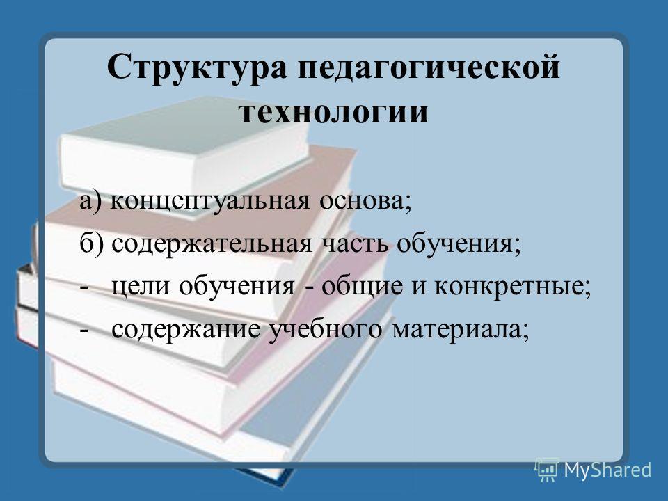 Структура педагогической технологии а) концептуальная основа; б) содержательная часть обучения; - цели обучения - общие и конкретные; - содержание учебного материала;
