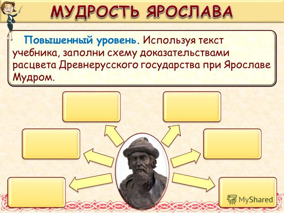 Повышенный уровень. Используя текст учебника, заполни схему доказательствами расцвета Древнерусского государства при Ярославе Мудром.