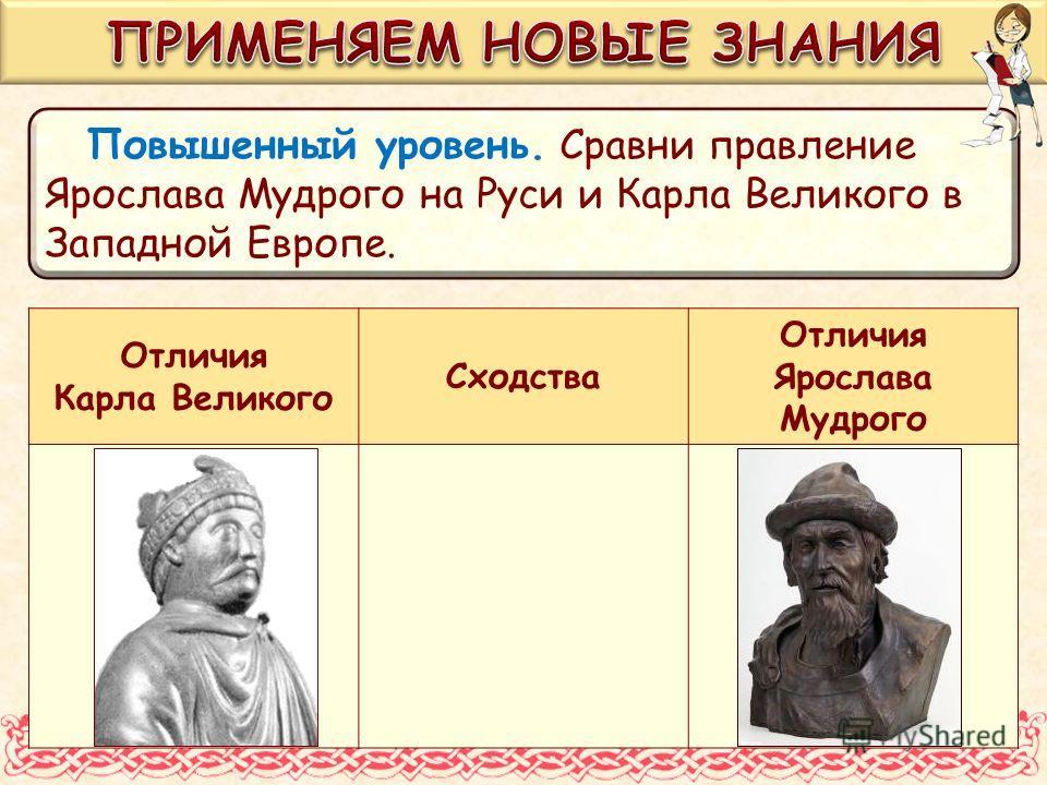 Повышенный уровень. Сравни правление Ярослава Мудрого на Руси и Карла Великого в Западной Европе. Отличия Карла Великого Сходства Отличия Ярослава Мудрого
