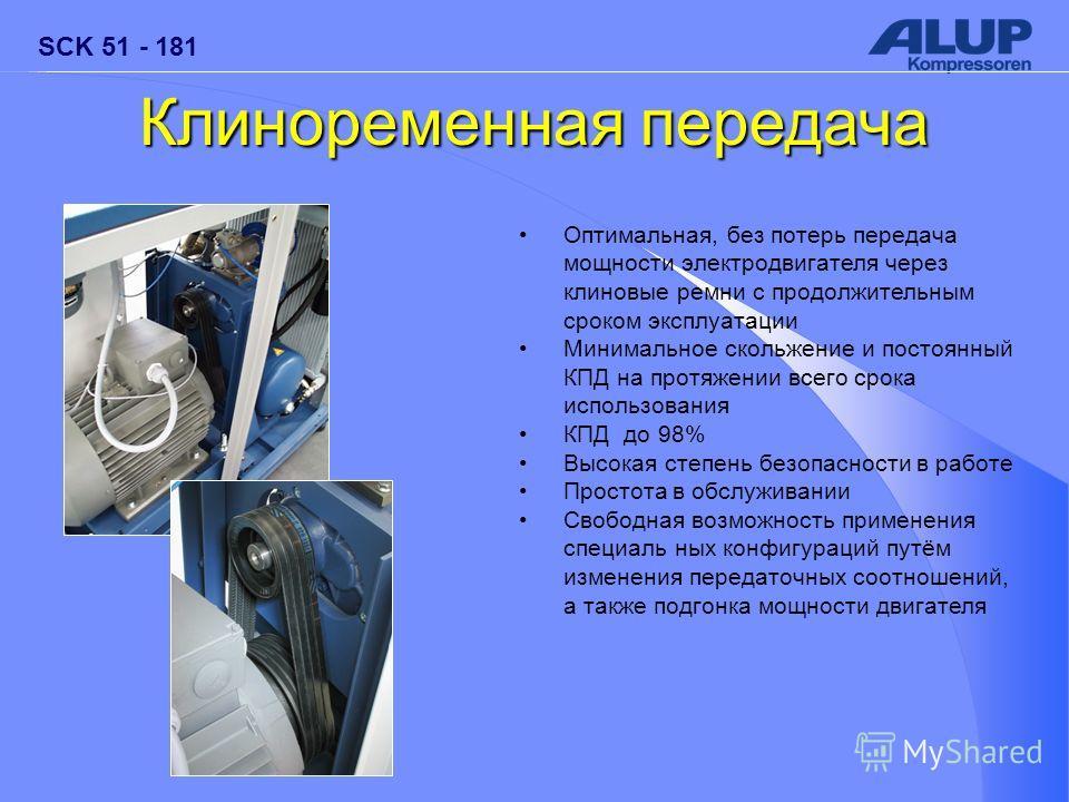 SCK 51 - 181 Клиноременная передача Оптимальная, без потерь передача мощности электродвигателя через клиновые ремни с продолжительным сроком эксплуатации Минимальное скольжение и постоянный КПД на протяжении всего срока использования КПД до 98% Высок