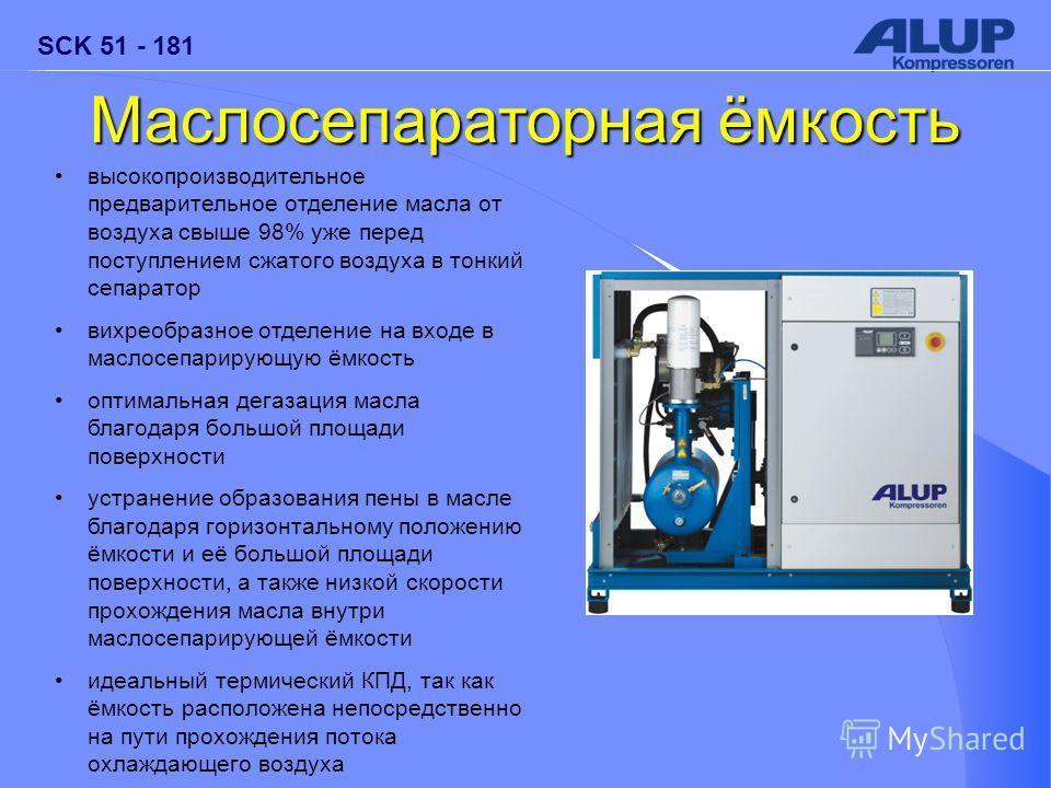 SCK 51 - 181 Маслосепараторная ёмкость высокопроизводительное предварительное отделение масла от воздуха свыше 98% уже перед поступлением сжатого воздуха в тонкий сепаратор вихреобразное отделение на входе в маслосепарирующую ёмкость оптимальная дега