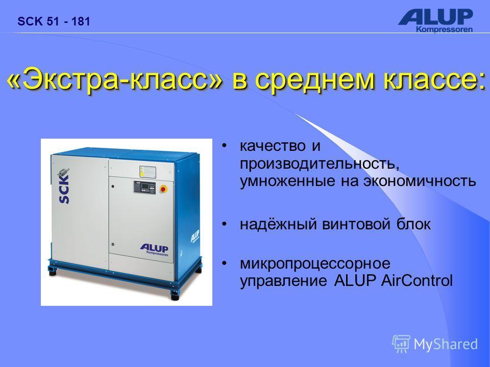 «Экстра-класс» в среднем классе: качество и производительность, умноженные на экономичность надёжный винтовой блок микропроцессорное управление ALUP AirControl