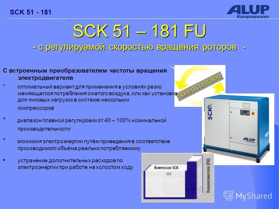 SCK 51 - 181 SCK 51 – 181 FU - c регулируемой скоростью вращения роторов - С встроенным преобразователем частоты вращения электродвигателя * оптимальный вариант для применения в условиях резко меняющегося потребления сжатого воздуха, или как установк