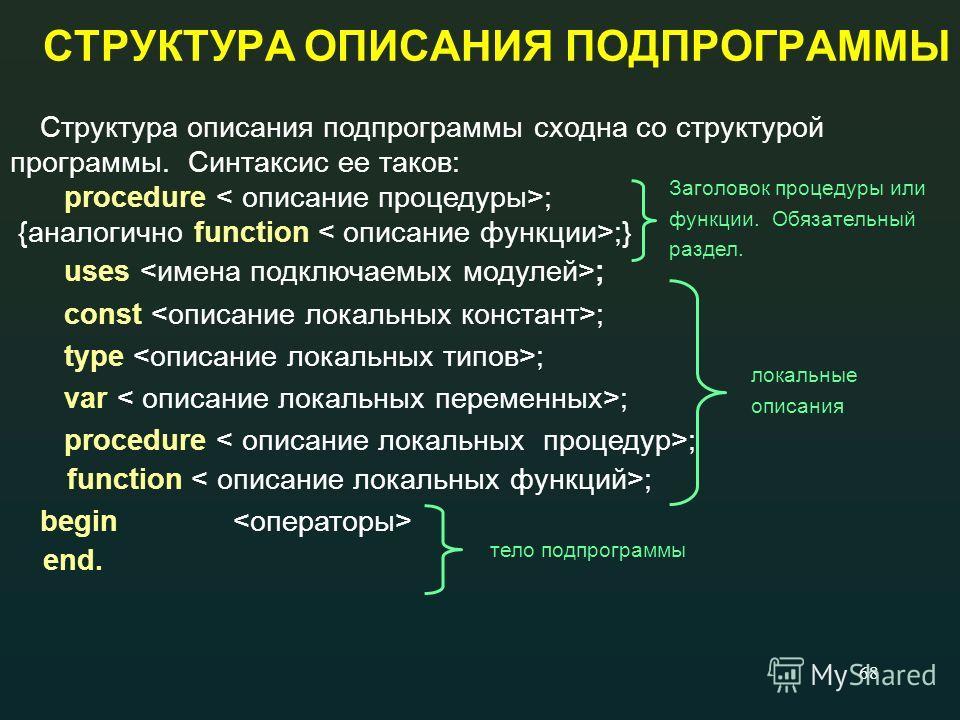 68 СТРУКТУРА ОПИСАНИЯ ПОДПРОГРАММЫ Структура описания подпрограммы сходна со структурой программы. Синтаксис ее таков: procedure ; {аналогично function ;} uses ; const ; type ; var ; procedure ; function ; begin end. Заголовок процедуры или функции.
