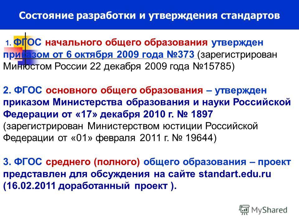 Состояние разработки и утверждения стандартов 1. ФГОС начального общего образования утвержден приказом от 6 октября 2009 года 373 (зарегистрирован Минюстом России 22 декабря 2009 года 15785) 2. ФГОС основного общего образования – утвержден приказом М