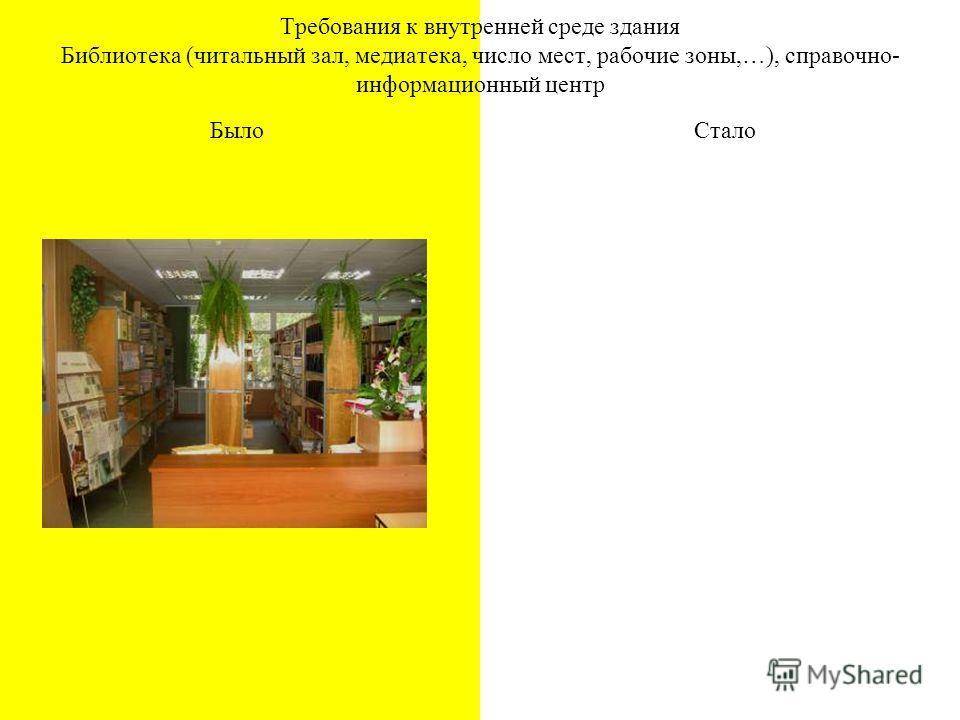Требования к внутренней среде здания Библиотека (читальный зал, медиатека, число мест, рабочие зоны,…), справочно- информационный центр БылоСтало
