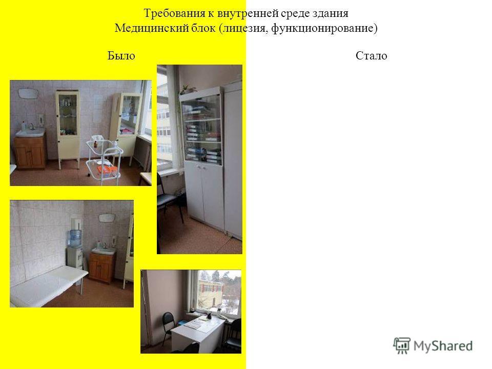БылоСтало Требования к внутренней среде здания Медицинский блок (лицезия, функционирование)