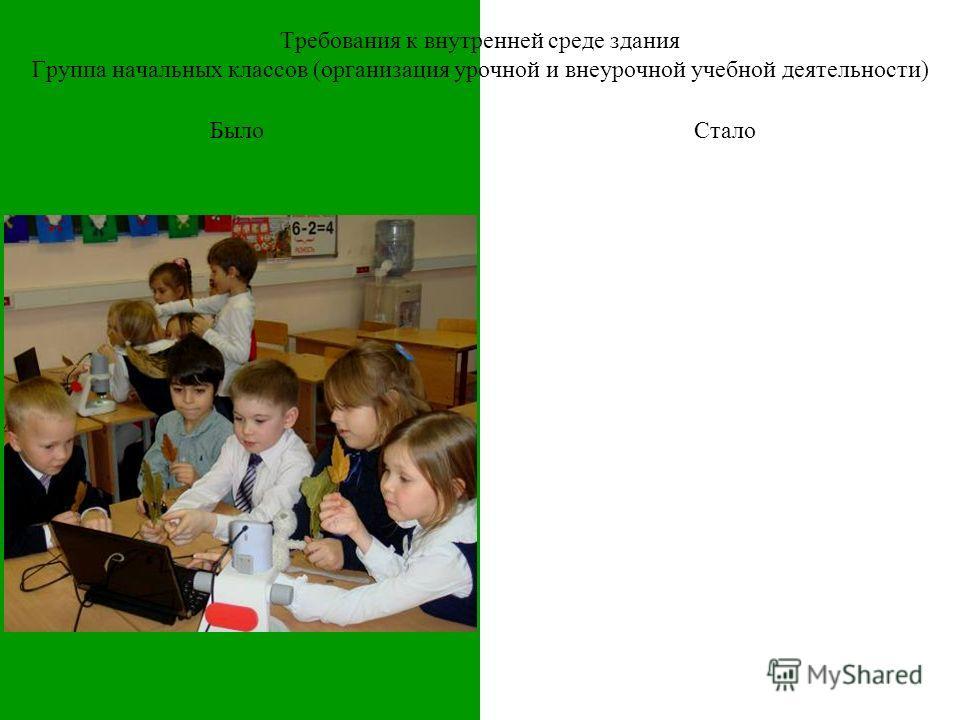 Требования к внутренней среде здания Группа начальных классов (организация урочной и внеурочной учебной деятельности) БылоСтало