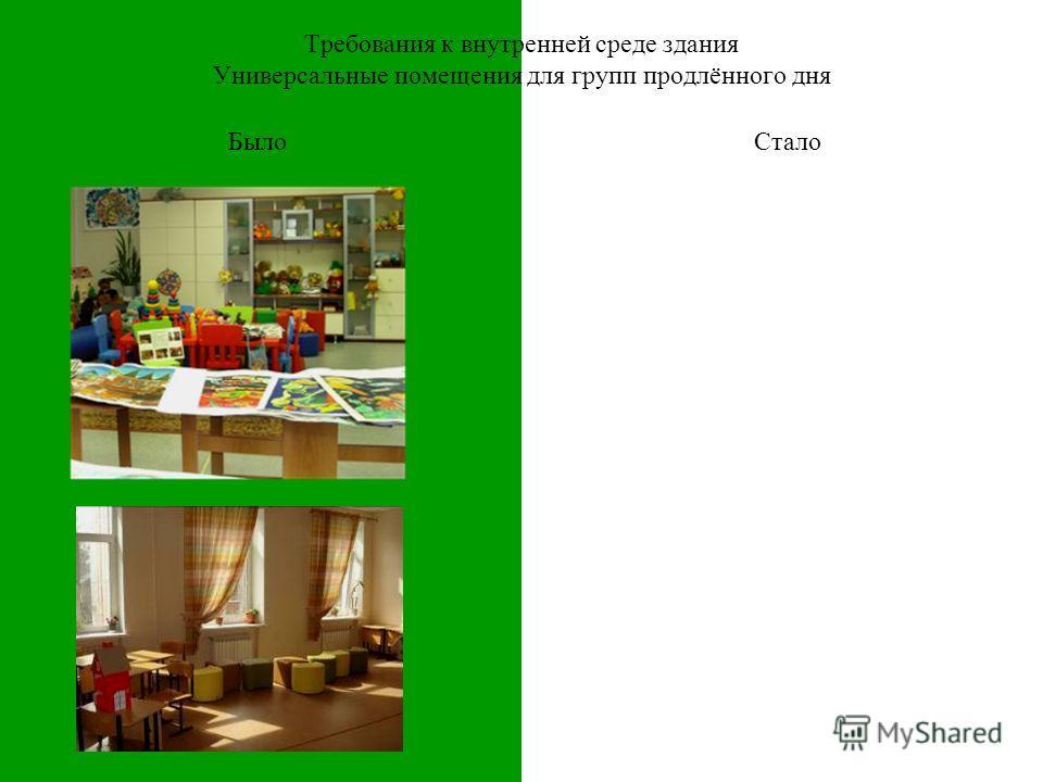 Требования к внутренней среде здания Универсальные помещения для групп продлённого дня БылоСтало