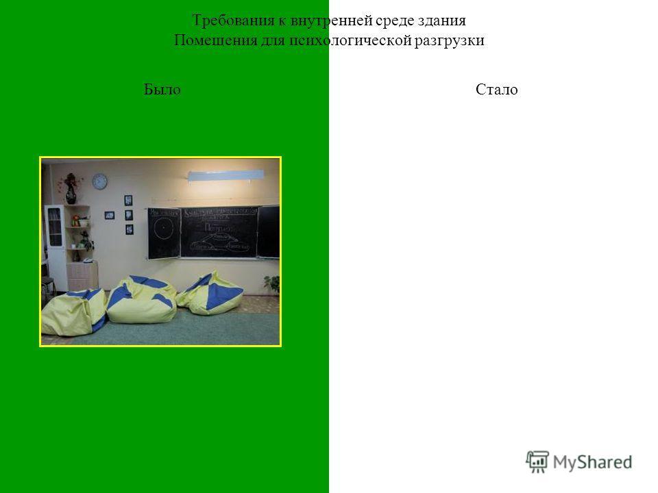 БылоСтало Требования к внутренней среде здания Помещения для психологической разгрузки