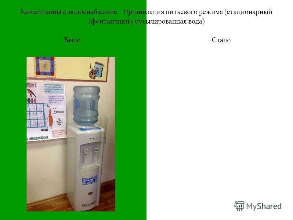 БылоСтало Канализация и водоснабжение. Организация питьевого режима (стационарный (фонтанчики), бутылированная вода)