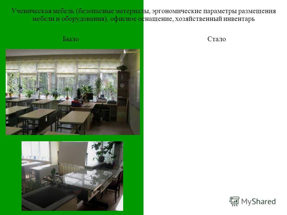 БылоСтало Ученическая мебель (безопасные материалы, эргономические параметры размещения мебели и оборудования), офисное оснащение, хозяйственный инвентарь