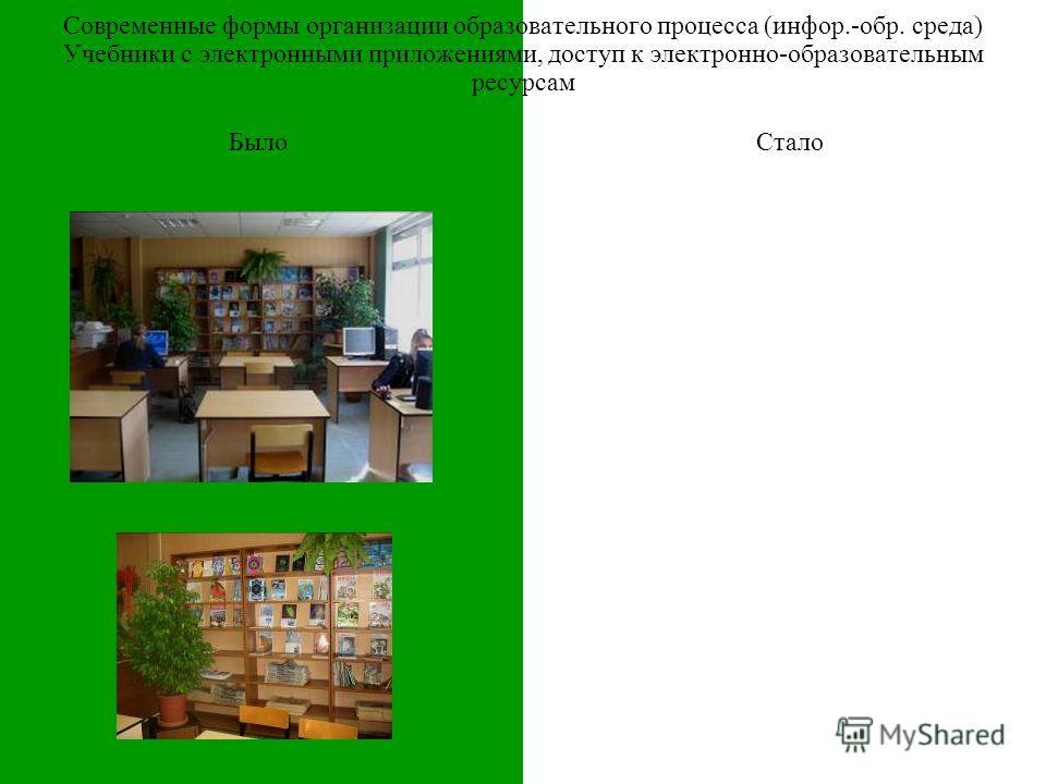 БылоСтало Современные формы организации образовательного процесса (инфор.-обр. среда) Учебники с электронными приложениями, доступ к электронно-образовательным ресурсам