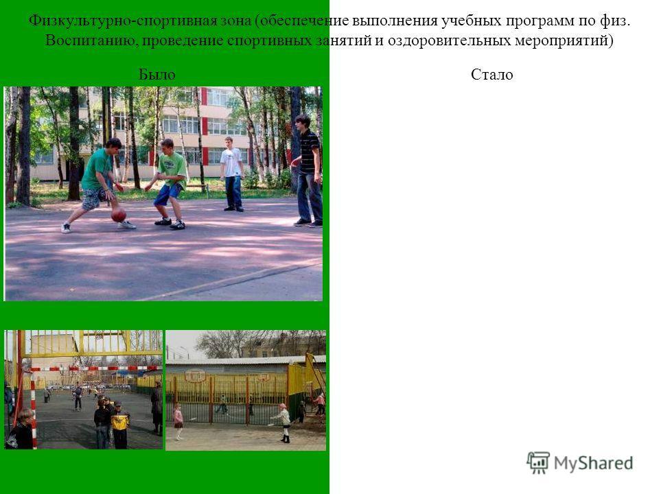 Физкультурно-спортивная зона (обеспечение выполнения учебных программ по физ. Воспитанию, проведение спортивных занятий и оздоровительных мероприятий) БылоСтало