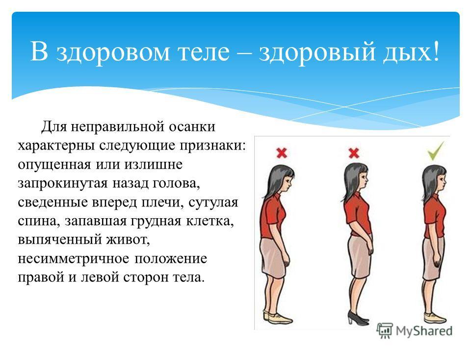 Для неправильной осанки характерны следующие признаки: опущенная или излишне запрокинутая назад голова, сведенные вперед плечи, сутулая спина, запавшая грудная клетка, выпяченный живот, несимметричное положение правой и левой сторон тела. В здоровом