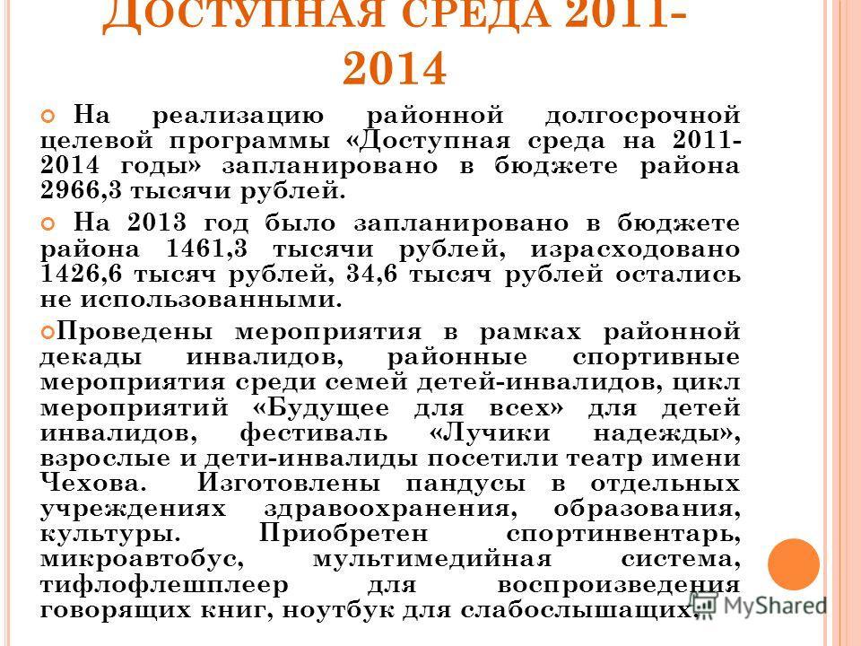 Д ОСТУПНАЯ СРЕДА 2011- 2014 На реализацию районной долгосрочной целевой программы «Доступная среда на 2011- 2014 годы» запланировано в бюджете района 2966,3 тысячи рублей. На 2013 год было запланировано в бюджете района 1461,3 тысячи рублей, израсход