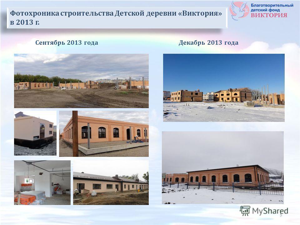 Декабрь 2013 годаСентябрь 2013 года Строительная площадка Фотохроника строительства Детской деревни «Виктория» в 2013 г. 5
