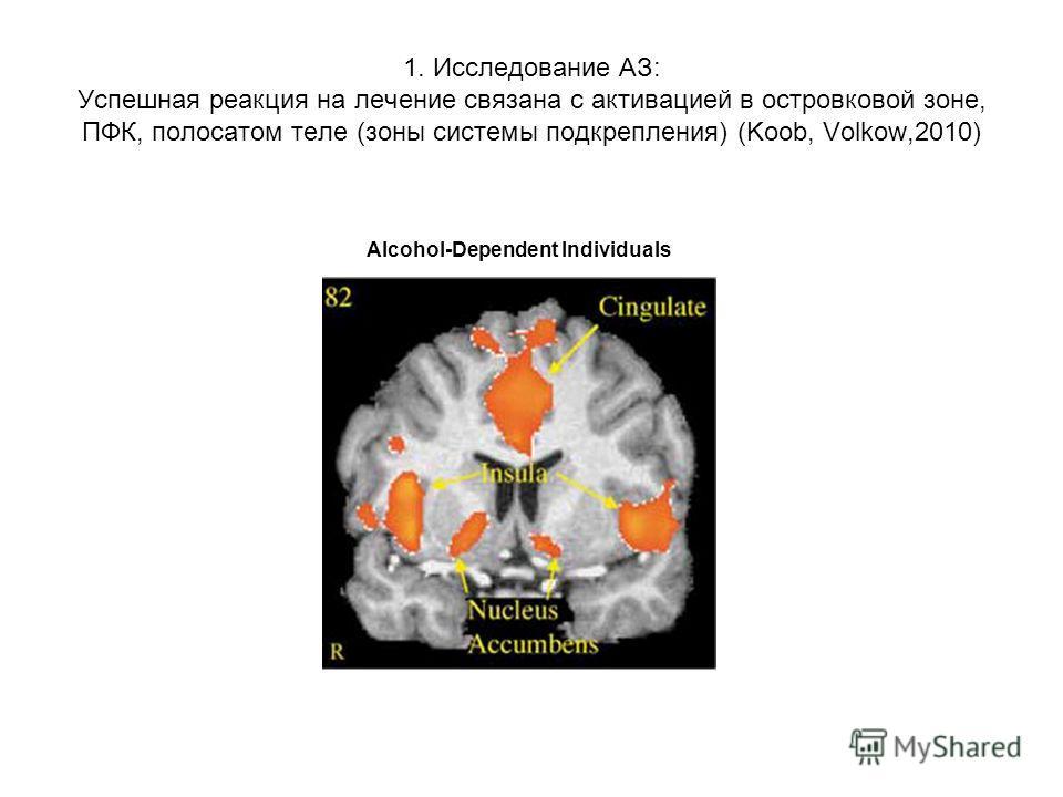 1. Исследование АЗ: Успешная реакция на лечение связана с активацией в островковой зоне, ПФК, полосатом теле (зоны системы подкрепления) (Koob, Volkow,2010) Alcohol-Dependent Individuals