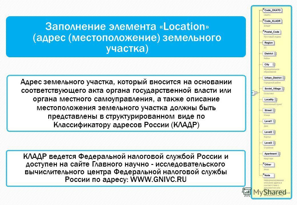 Заполнение элемента «Location» (адрес (местоположение) земельного участка) Адрес земельного участка, который вносится на основании соответствующего акта органа государственной власти или органа местного самоуправления, а также описание местоположения