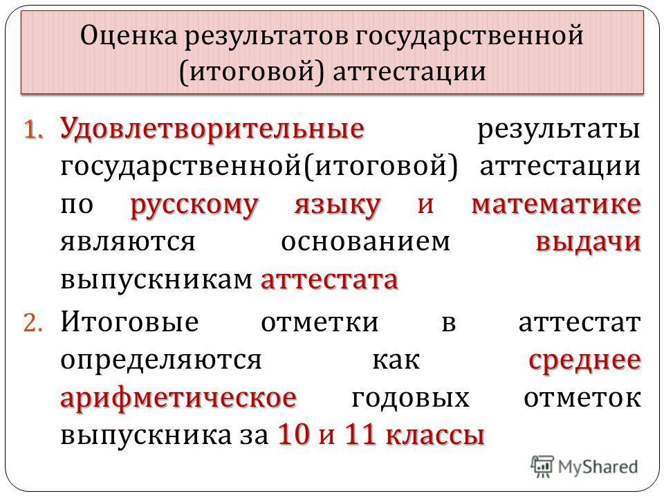 Оценка результатов государственной ( итоговой ) аттестации 1. Удовлетворительные русскому языку математике выдачи аттестата 1. Удовлетворительные результаты государственной ( итоговой ) аттестации по русскому языку и математике являются основанием вы