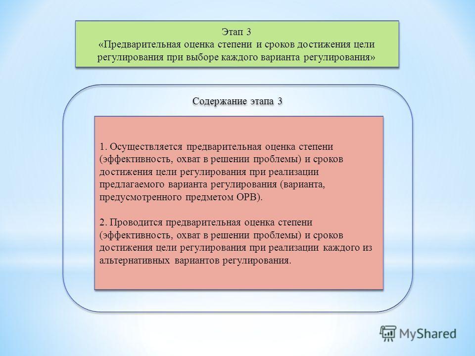 Этап 3 «Предварительная оценка степени и сроков достижения цели регулирования при выборе каждого варианта регулирования» Этап 3 «Предварительная оценка степени и сроков достижения цели регулирования при выборе каждого варианта регулирования» Содержан