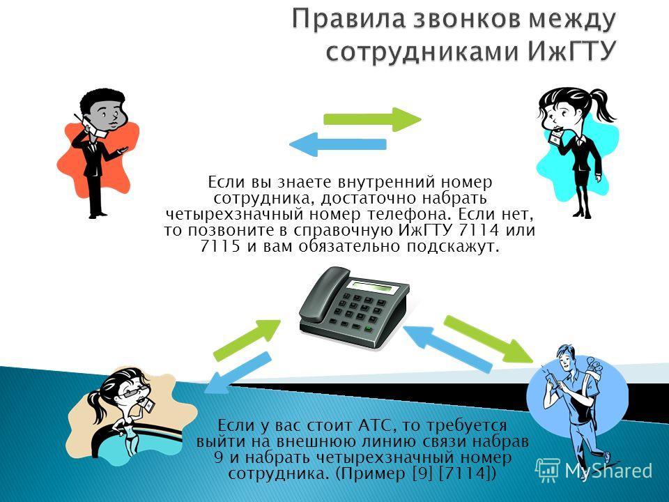 Если вы знаете внутренний номер сотрудника, достаточно набрать четырехзначный номер телефона. Если нет, то позвоните в справочную ИжГТУ 7114 или 7115 и вам обязательно подскажут. Если у вас стоит АТС, то требуется выйти на внешнюю линию связи набрав